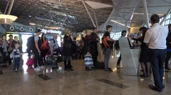 People boarding to the airplane Stock Footage