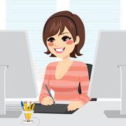Graphic Designer Woman Stock Illustration