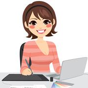 Female Graphic Designer Stock Illustration