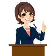Politician Woman Speaking Stock Illustration