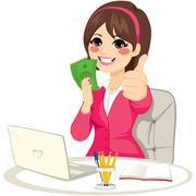 Successful Banknote Money Fan Businesswoman Stock Illustration