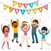 Children Happy Birthday Party Stock Illustration