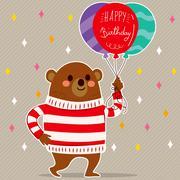 Happy Birthday Balloons Bear Piirros