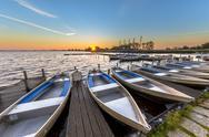 Row of rental boats in a dutch marina Stock Photos