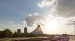 Shopping center. Zoom. Sunset. Khan-Shatyr, Astana, Kazakhstan TimeLapse Stock Footage