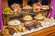 Italian Pastry shop glass display Stock Photos
