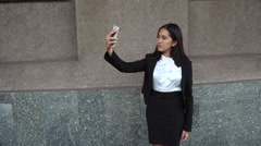 Young Beautiful Business Woman Female Girl Portrait Hold Use Phone Take Make Stock Footage