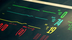 Patient's clinical death and reviving, vital signs rising on bedside ICU monitor Stock Footage