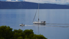 Sailboat sailing in good weather. Stock Footage
