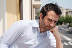 Portrait of sad man thoughtful Stock Photos