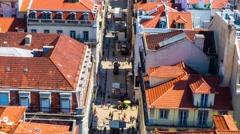 Rua de Santa Justa in Lisbon, Portugal Stock Footage