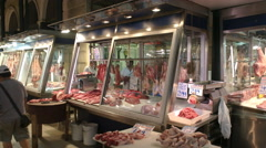 Athens central market butcher's stalls Stock Footage