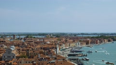 Aerial view and panorama of Venice city in Italy Stock Footage