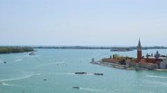View of San Giorgio Maggiore island Basilica from San Marco square Stock Footage