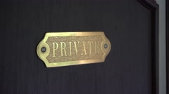 Private Sign on Door Stock Footage