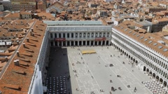 Aerial view of Venice, St Mark's square. Scenic video Stock Footage