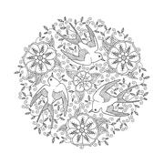 Mandala with three beautiful flying birds and floral background Stock Illustration