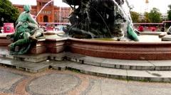 Neptune Fountain in Berlin, Germany Stock Footage
