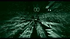 Camera flight in science world loop of green-grey math or physics formula Stock Footage