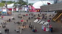 4K+ Timelapse of Busan Cinema Center Courtyard Stock Footage