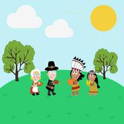 Pilgrims and indians illustration Stock Illustration