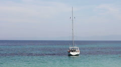Seascape with tourist boat Stock Footage