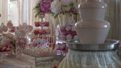 Chocolate Fountain on the Table With Sweets Stock Footage