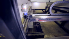 Modern automated laser metall cutter. Contemporary heavy industrial equipment Stock Footage