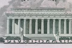 Lincoln Memorial on the 5 dollar bill Stock Photos