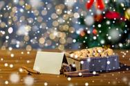 Close up of christmas oat cookies on wooden table Stock Photos