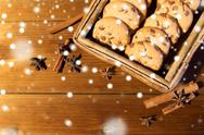 Close up of oat cookies on wooden table Stock Photos