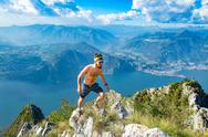 Trail running in the mountains man athlete shirtless Stock Photos