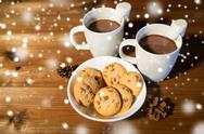 Cups of hot chocolate with marshmallow and cookies Stock Photos