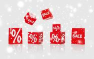 Shopping bags with sale and percent signs Stock Photos