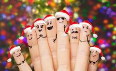 Close up of hands and fingers with smiley faces Stock Photos