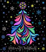 Christmas card with tree and snowflakes Stock Illustration