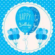 Happy Birthday Blue Balloons Piirros