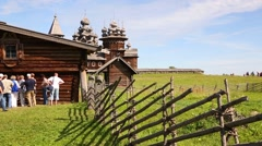 People on the territory Kizhi pogost on Kizhi Island in Russia Stock Footage