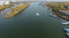 Aerial footage of city and river Stock Footage