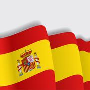 Spanish waving Flag. Vector illustration Stock Illustration
