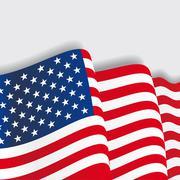 American waving Flag. Vector illustration Piirros