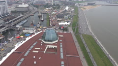 4k Aerial tilt up view from sightseeing platform Bremerhaven city and harbor Stock Footage