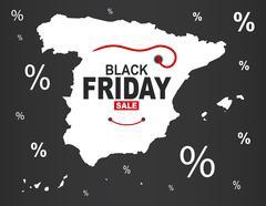 Black Friday Map - Spain white Stock Illustration