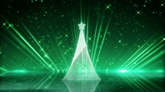 Glass christmas tree and green light rays loopable animation Stock Footage