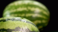 Two watermelons at black background Stock Footage