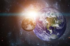 Solar System - Planet Earth. Elements of this image furnished by NASA. Stock Photos