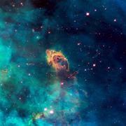 Universe filled with stellar jet, stars, nebula and galaxy. Stock Photos