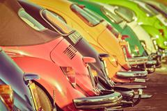 Row of colorful classic cars Kuvituskuvat