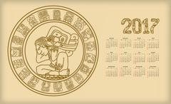 Calendar 2017 with maya symbolics Piirros