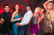 Five people looking at camera and dancing Stock Photos